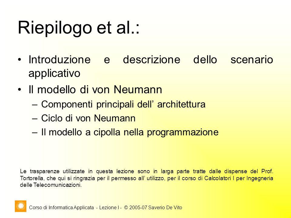 Corso di Informatica Applicata - Lezione I - © 2005-07 Saverio De Vito Riepilogo et al.: Introduzione e descrizione dello scenario applicativo Il mode