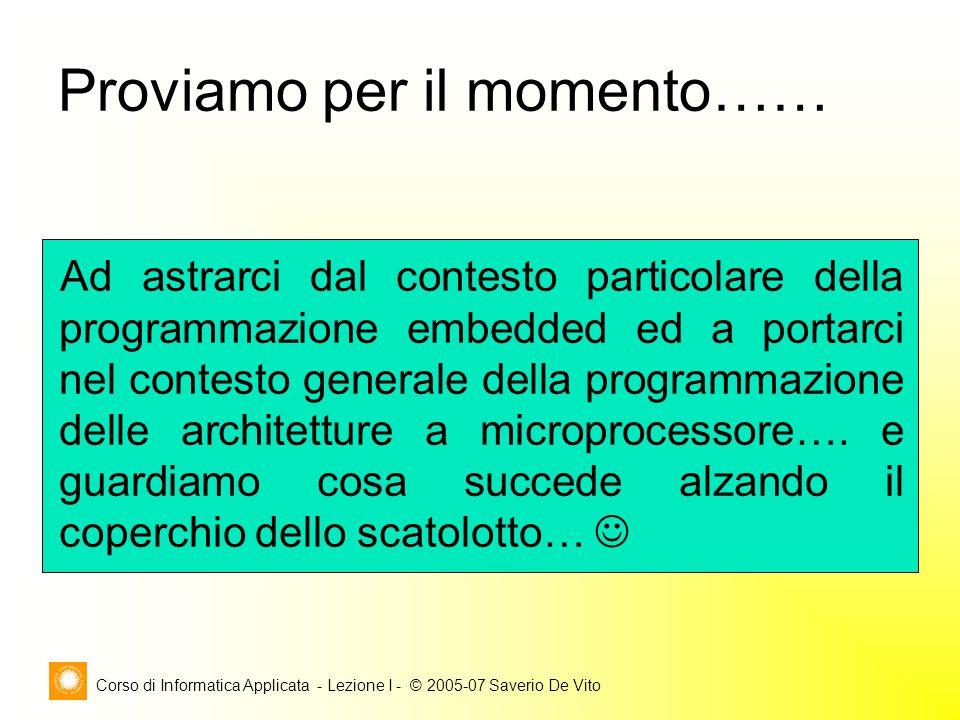 Corso di Informatica Applicata - Lezione I - © 2005-07 Saverio De Vito Proviamo per il momento…… Ad astrarci dal contesto particolare della programmaz