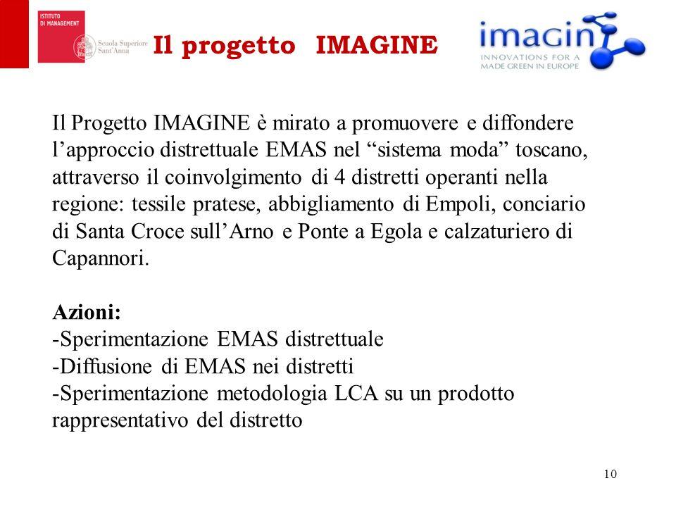 Il progetto IMAGINE 10 Il Progetto IMAGINE è mirato a promuovere e diffondere l'approccio distrettuale EMAS nel sistema moda toscano, attraverso il coinvolgimento di 4 distretti operanti nella regione: tessile pratese, abbigliamento di Empoli, conciario di Santa Croce sull'Arno e Ponte a Egola e calzaturiero di Capannori.