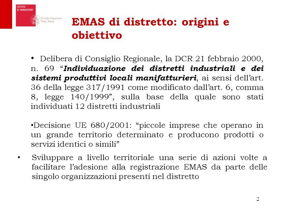 EMAS di distretto: origini e obiettivo Sviluppare a livello territoriale una serie di azioni volte a facilitare l'adesione alla registrazione EMAS da parte delle singolo organizzazioni presenti nel distretto 2 Delibera di Consiglio Regionale, la DCR 21 febbraio 2000, n.