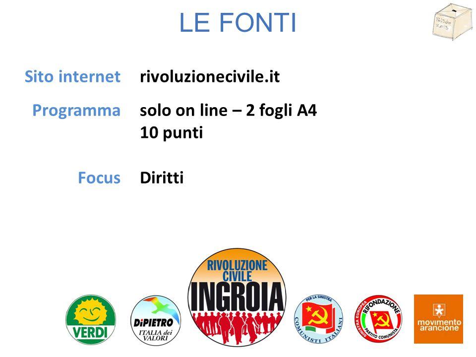LE FONTI Sito internet Programma rivoluzionecivile.it solo on line – 2 fogli A4 10 punti FocusDiritti