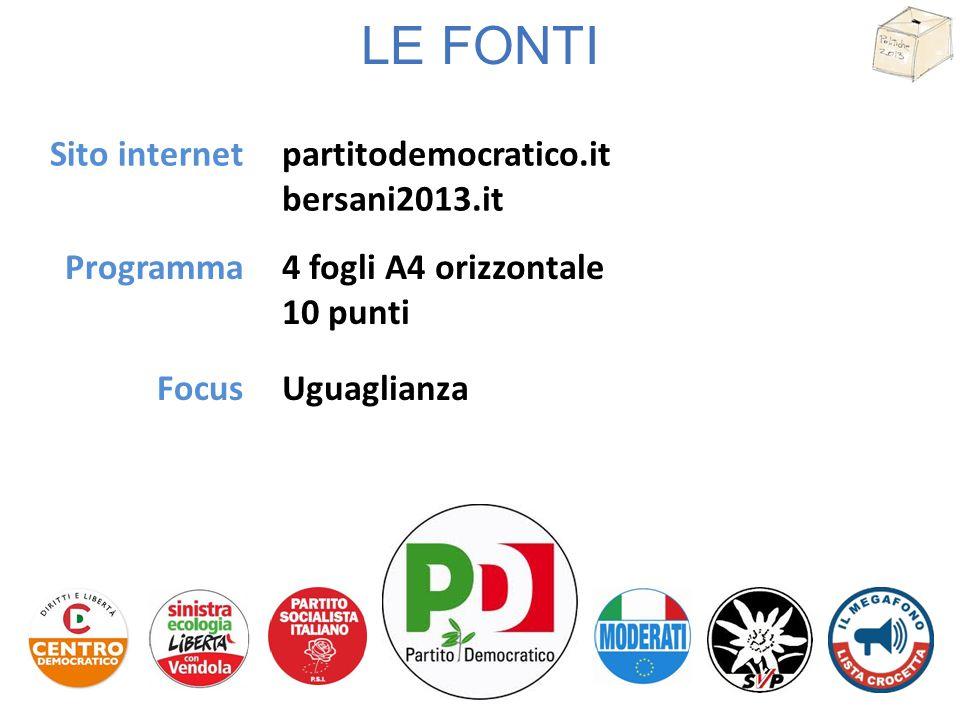 LE FONTI Sito internet Programma partitodemocratico.it bersani2013.it 4 fogli A4 orizzontale 10 punti FocusUguaglianza