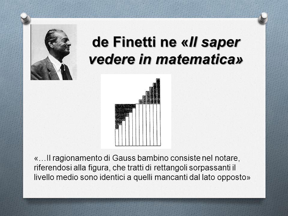 «…Il ragionamento di Gauss bambino consiste nel notare, riferendosi alla figura, che tratti di rettangoli sorpassanti il livello medio sono identici a quelli mancanti dal lato opposto»