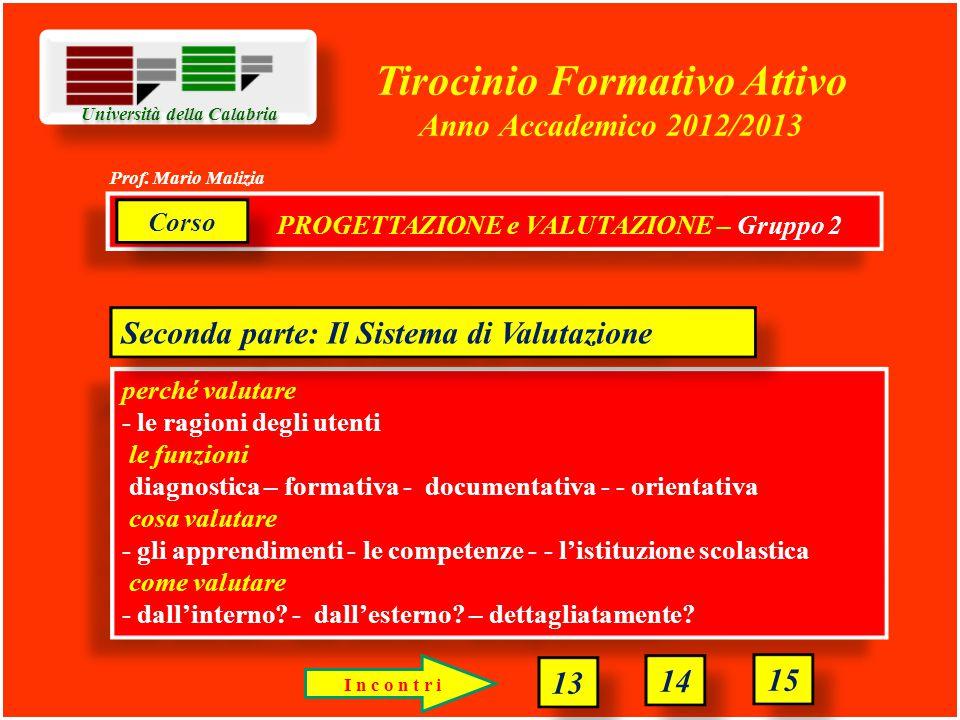 Università della Calabria Tirocinio Formativo Attivo Anno Accademico 2012/2013 perché valutare - le ragioni degli utenti le funzioni diagnostica – formativa - documentativa - - orientativa cosa valutare - gli apprendimenti - le competenze - - l'istituzione scolastica come valutare - dall'interno.