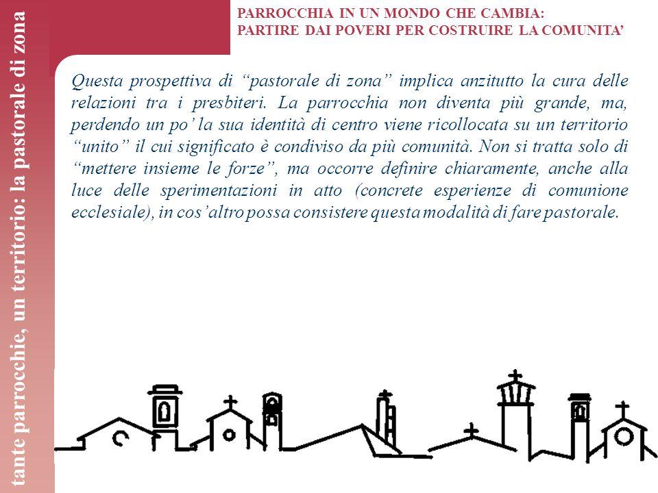 """PARROCCHIA IN UN MONDO CHE CAMBIA: PARTIRE DAI POVERI PER COSTRUIRE LA COMUNITA' Questa prospettiva di """"pastorale di zona"""" implica anzitutto la cura d"""
