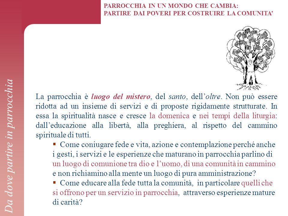PARROCCHIA IN UN MONDO CHE CAMBIA: PARTIRE DAI POVERI PER COSTRUIRE LA COMUNITA' La parrocchia è luogo del mistero, del santo, dell'oltre. Non può ess