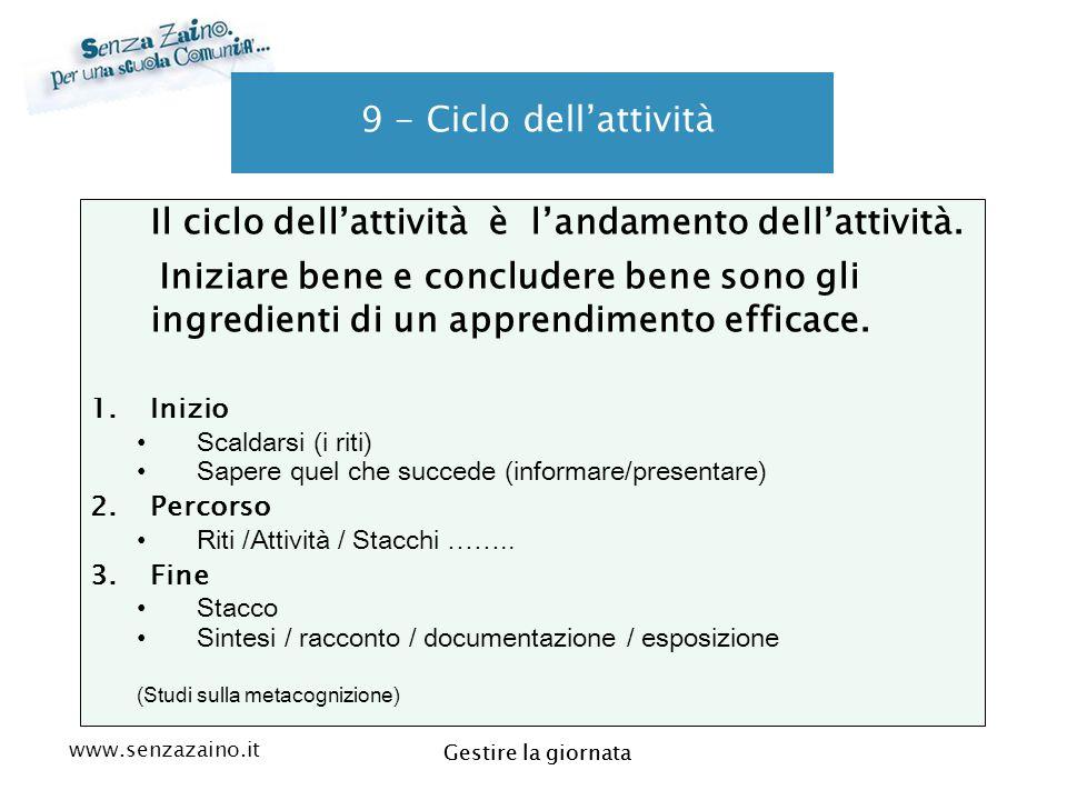 www.senzazaino.it m.orsi.lucca@gmail.com Gestire la giornata 9 - Ciclo dell'attività Il ciclo dell'attività è l'andamento dell'attività. Iniziare bene