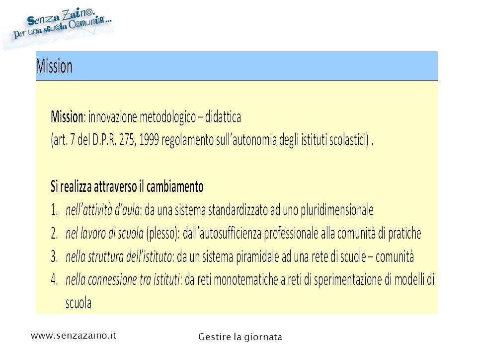 www.senzazaino.it m.orsi.lucca@gmail.com Gestire la giornata L'organizzazione della GIORNATA definisce la qualità della vita scolastica e l'apprendimento efficace.
