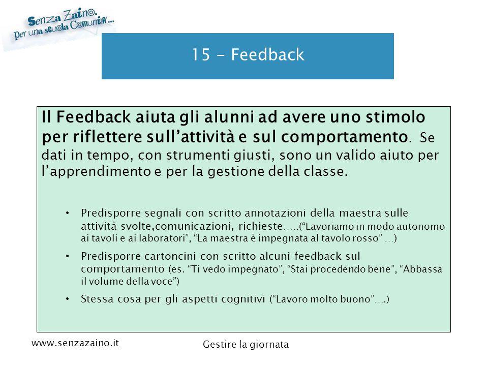 www.senzazaino.it m.orsi.lucca@gmail.com Gestire la giornata 15 - Feedback Il Feedback aiuta gli alunni ad avere uno stimolo per riflettere sull'attiv