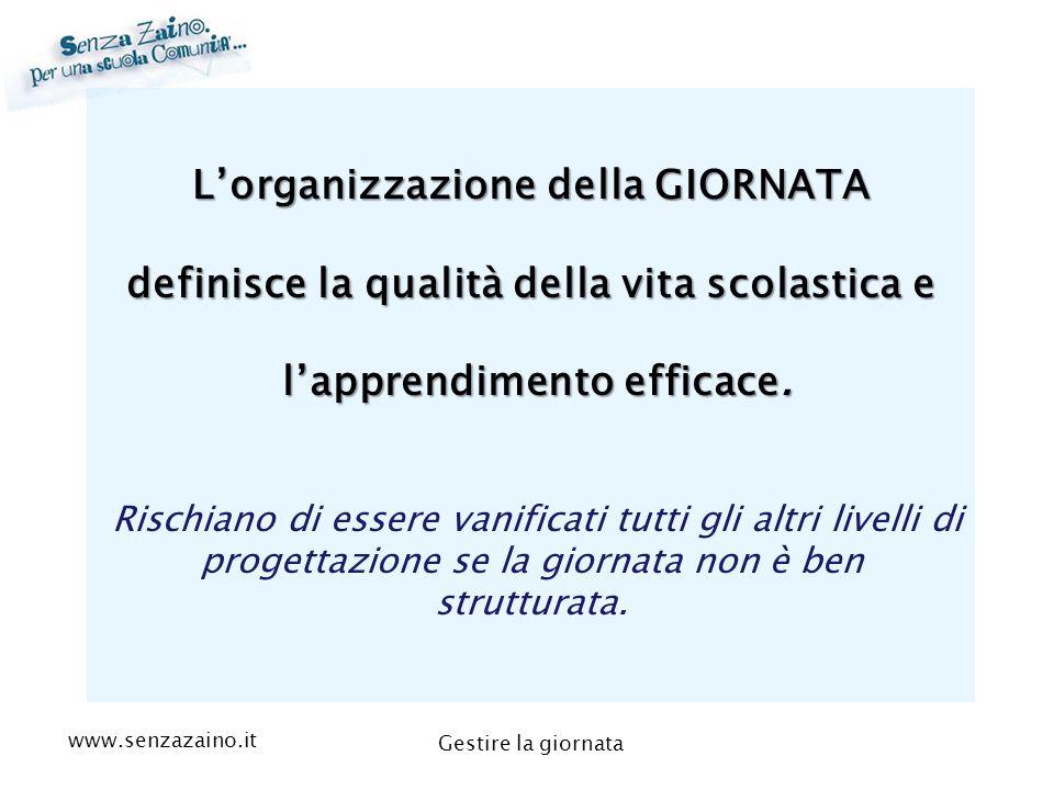 www.senzazaino.it m.orsi.lucca@gmail.com Gestire la giornata L'organizzazione della GIORNATA definisce la qualità della vita scolastica e l'apprendime