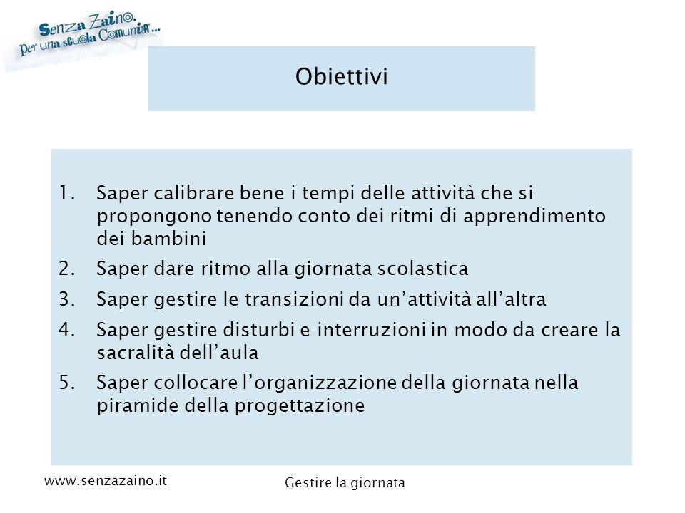 www.senzazaino.it m.orsi.lucca@gmail.com Gestire la giornata Obiettivi 1.Saper calibrare bene i tempi delle attività che si propongono tenendo conto d