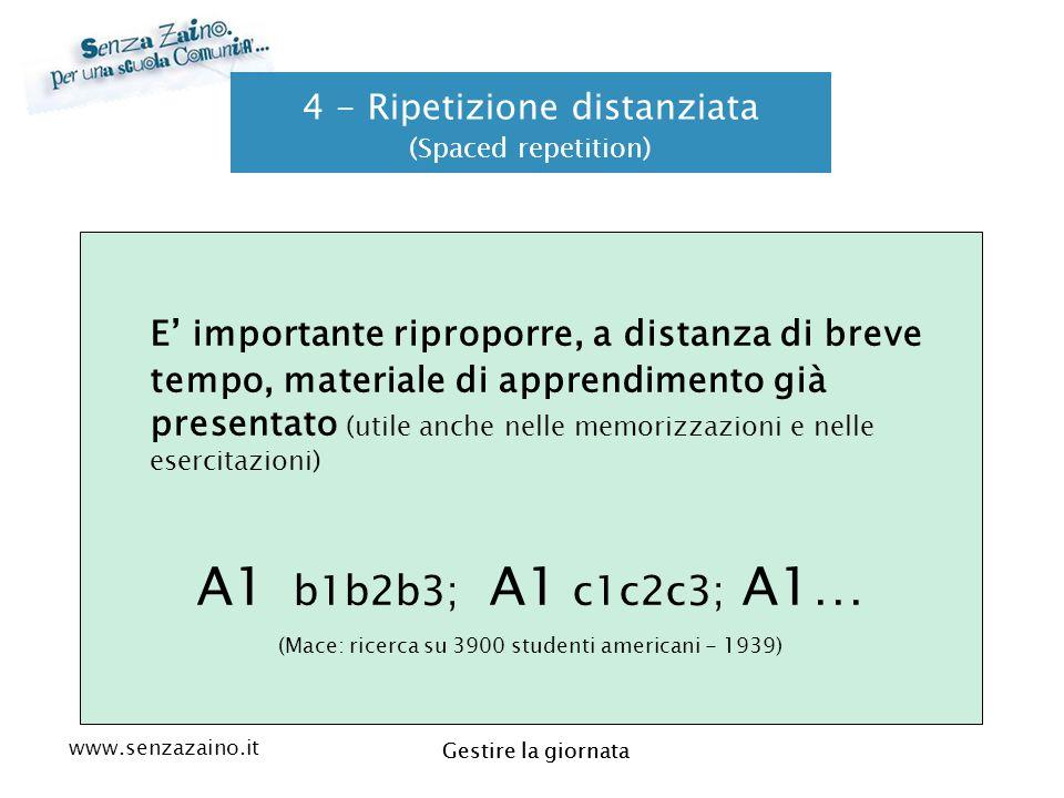 www.senzazaino.it m.orsi.lucca@gmail.com Gestire la giornata 4 - Ripetizione distanziata (Spaced repetition) E' importante riproporre, a distanza di b