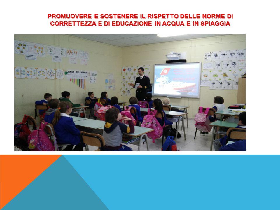 PROMUOVERE E SOSTENERE IL RISPETTO DELLE NORME DI CORRETTEZZA E DI EDUCAZIONE IN ACQUA E IN SPIAGGIA