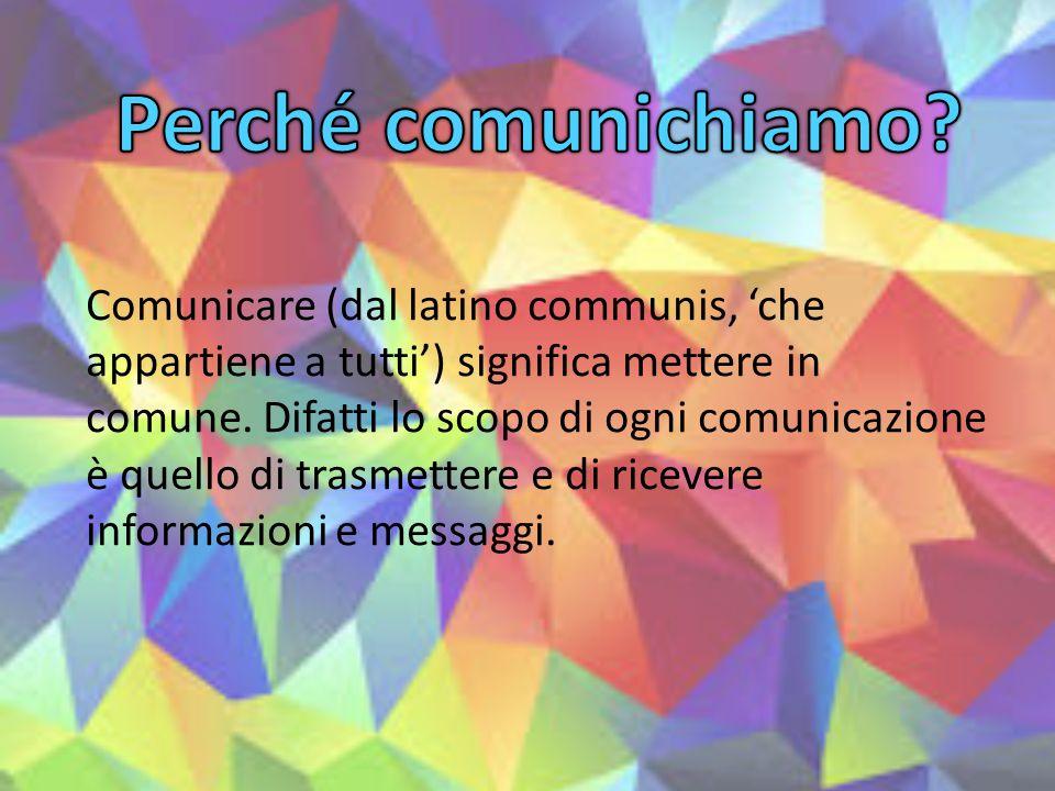 Comunicare (dal latino communis, 'che appartiene a tutti') significa mettere in comune. Difatti lo scopo di ogni comunicazione è quello di trasmettere