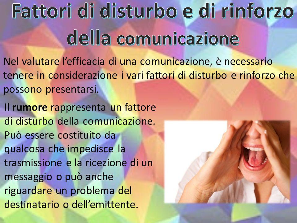 Nel valutare l'efficacia di una comunicazione, è necessario tenere in considerazione i vari fattori di disturbo e rinforzo che possono presentarsi. Il