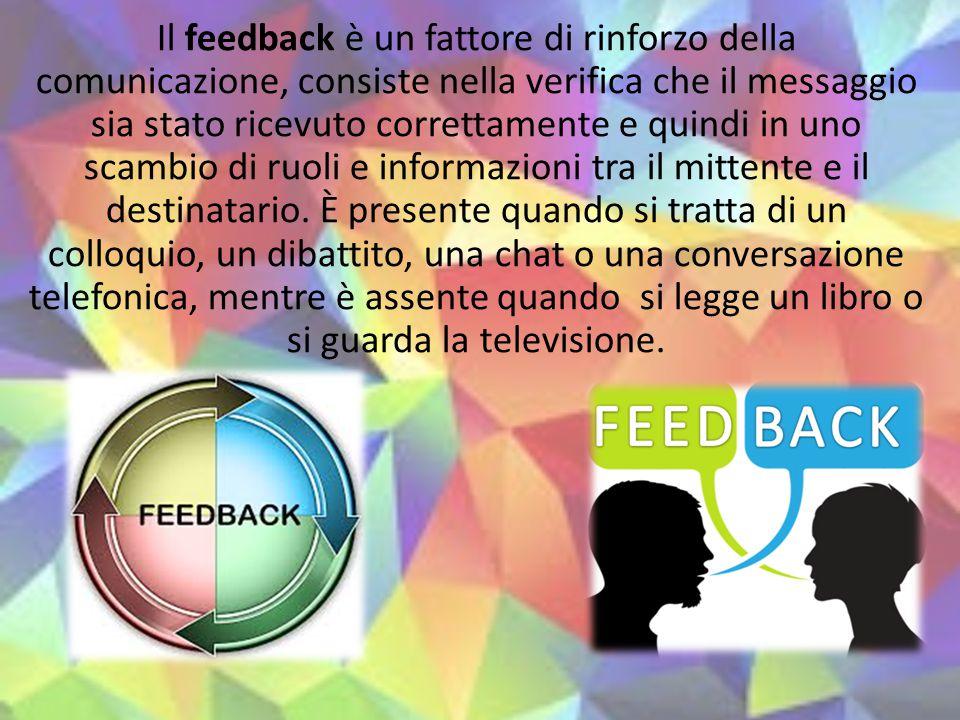 Il feedback è un fattore di rinforzo della comunicazione, consiste nella verifica che il messaggio sia stato ricevuto correttamente e quindi in uno sc