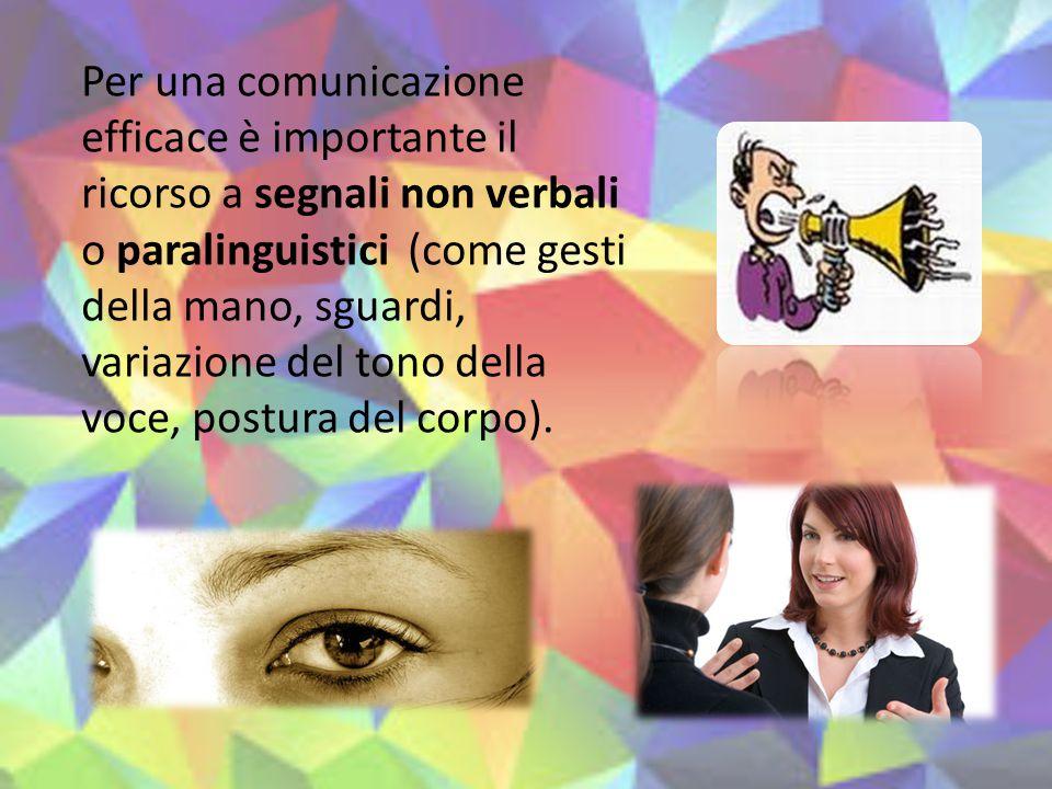 Per una comunicazione efficace è importante il ricorso a segnali non verbali o paralinguistici (come gesti della mano, sguardi, variazione del tono de