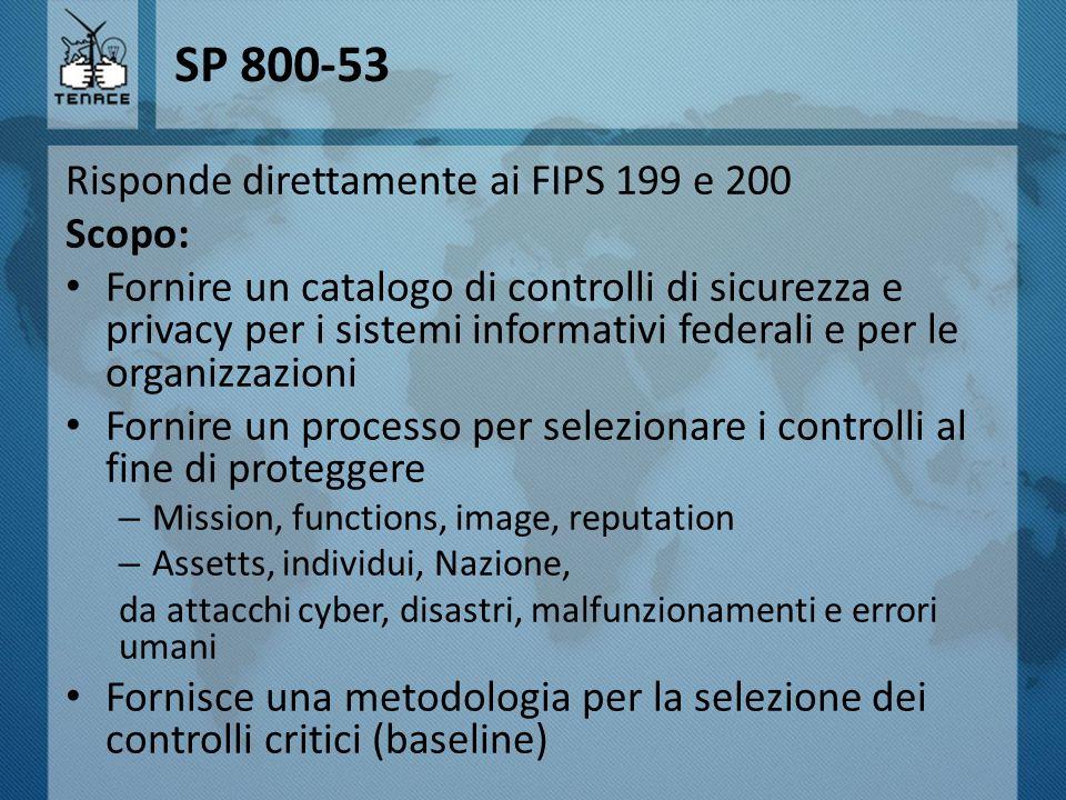SP 800-53 Risponde direttamente ai FIPS 199 e 200 Scopo: Fornire un catalogo di controlli di sicurezza e privacy per i sistemi informativi federali e