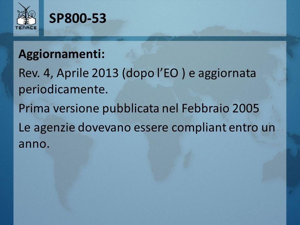 SP800-53 Aggiornamenti: Rev. 4, Aprile 2013 (dopo l'EO ) e aggiornata periodicamente. Prima versione pubblicata nel Febbraio 2005 Le agenzie dovevano