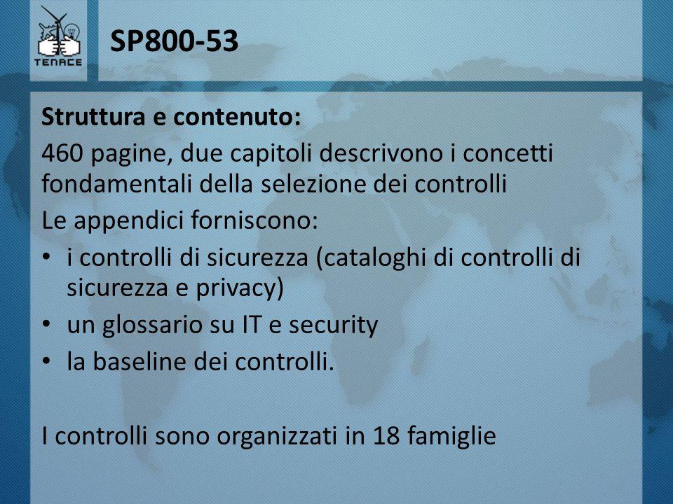 SP800-53 Struttura e contenuto: 460 pagine, due capitoli descrivono i concetti fondamentali della selezione dei controlli Le appendici forniscono: i c