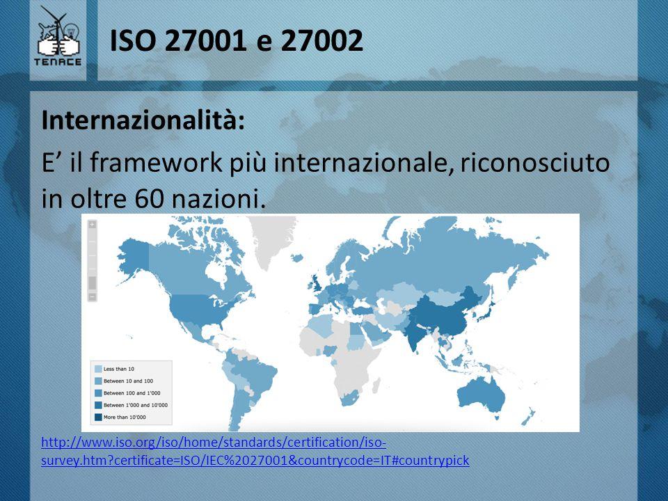 ISO 27001 e 27002 Internazionalità: E' il framework più internazionale, riconosciuto in oltre 60 nazioni. http://www.iso.org/iso/home/standards/certif