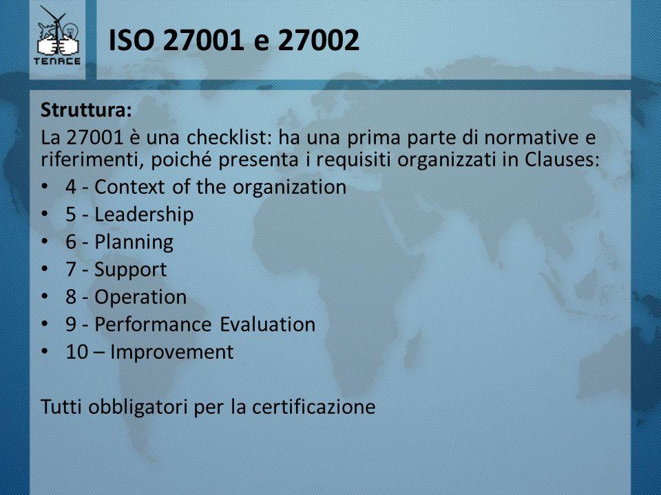 ISO 27001 e 27002 Struttura: La 27001 è una checklist: ha una prima parte di normative e riferimenti, poiché presenta i requisiti organizzati in Claus