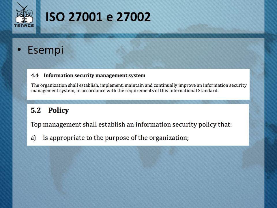 ISO 27001 e 27002 Esempi