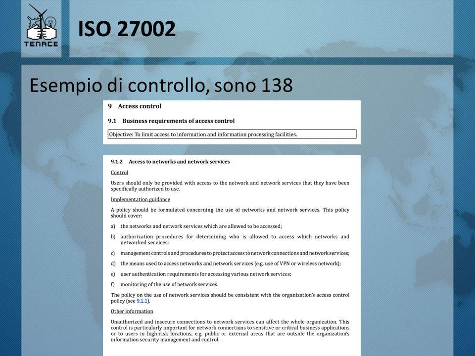 ISO 27002 Esempio di controllo, sono 138