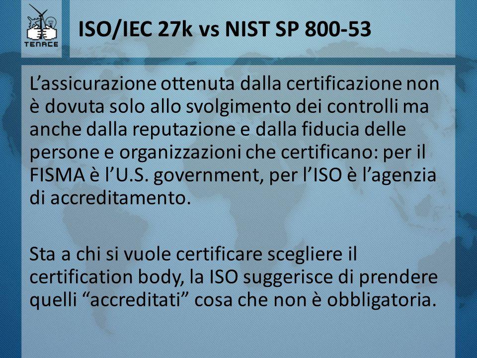 ISO/IEC 27k vs NIST SP 800-53 L'assicurazione ottenuta dalla certificazione non è dovuta solo allo svolgimento dei controlli ma anche dalla reputazion