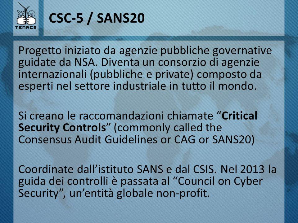 CSC-5 / SANS20 Progetto iniziato da agenzie pubbliche governative guidate da NSA. Diventa un consorzio di agenzie internazionali (pubbliche e private)