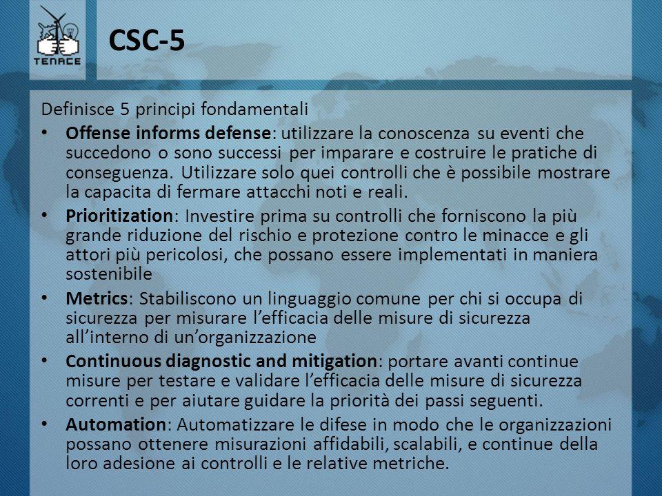 CSC-5 Definisce 5 principi fondamentali Offense informs defense: utilizzare la conoscenza su eventi che succedono o sono successi per imparare e costr