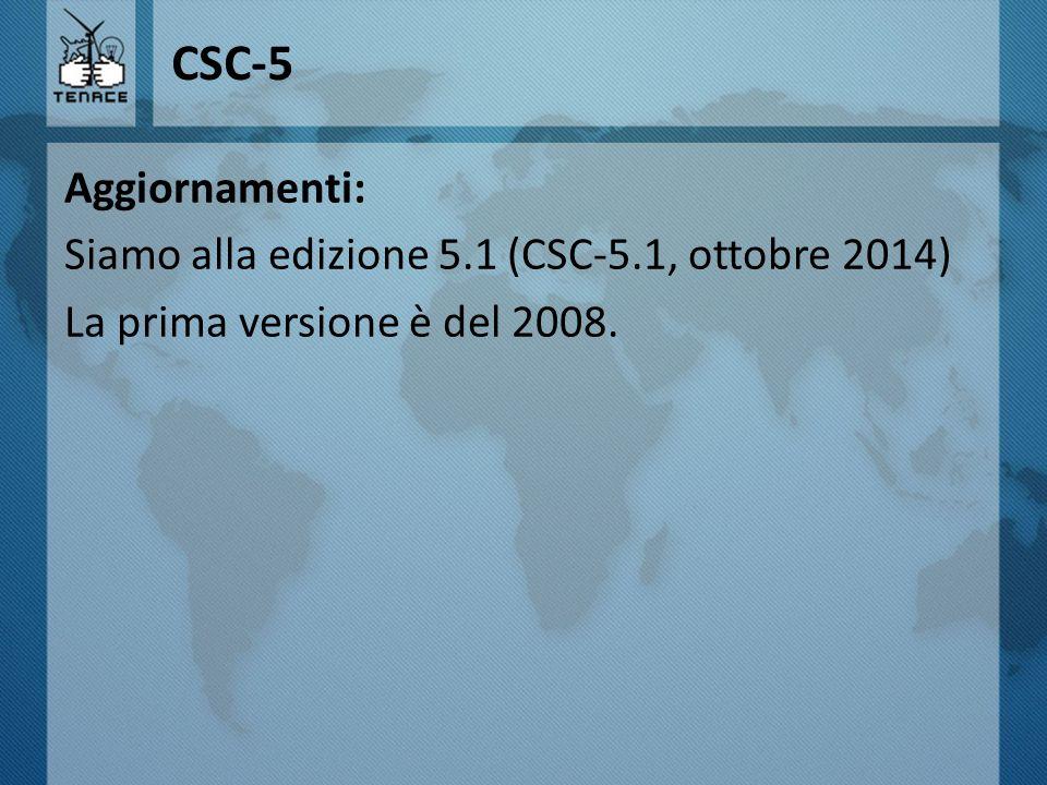 CSC-5 Aggiornamenti: Siamo alla edizione 5.1 (CSC-5.1, ottobre 2014) La prima versione è del 2008.