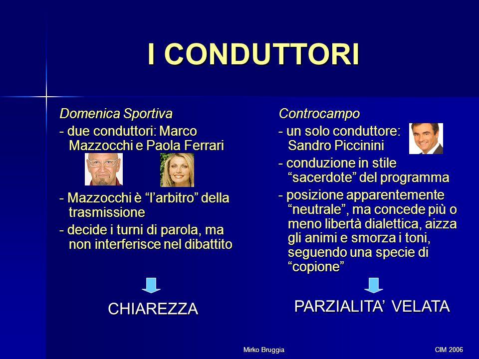 """Mirko Bruggia CIM 2006 I CONDUTTORI Domenica Sportiva - due conduttori: Marco Mazzocchi e Paola Ferrari - Mazzocchi è """"l'arbitro"""" della trasmissione -"""