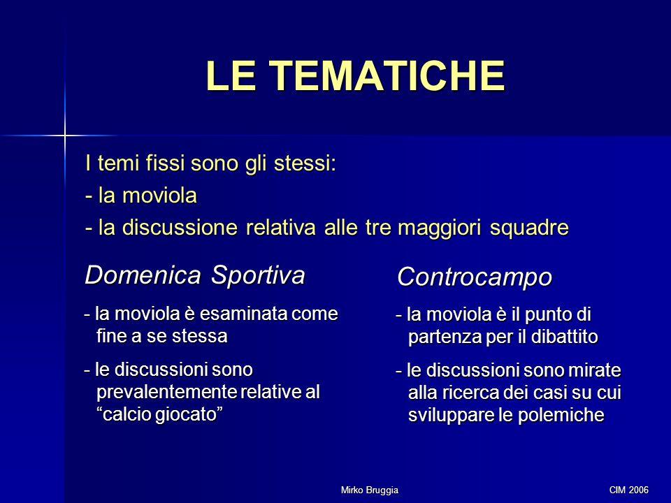 Mirko Bruggia CIM 2006 LE TEMATICHE I temi fissi sono gli stessi: - la moviola - la discussione relativa alle tre maggiori squadre Domenica Sportiva -