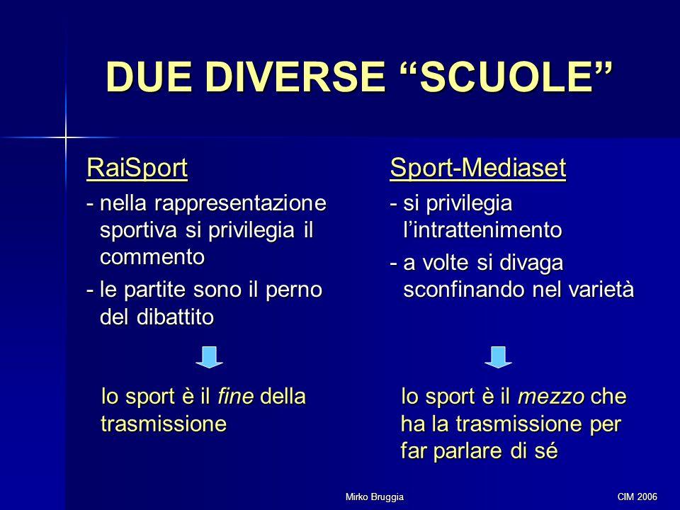 """Mirko Bruggia CIM 2006 DUE DIVERSE """"SCUOLE"""" RaiSport - nella rappresentazione sportiva si privilegia il commento - le partite sono il perno del dibatt"""