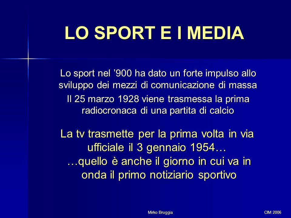 Mirko Bruggia CIM 2006 LO SPORT E I MEDIA Lo sport nel '900 ha dato un forte impulso allo sviluppo dei mezzi di comunicazione di massa Il 25 marzo 192