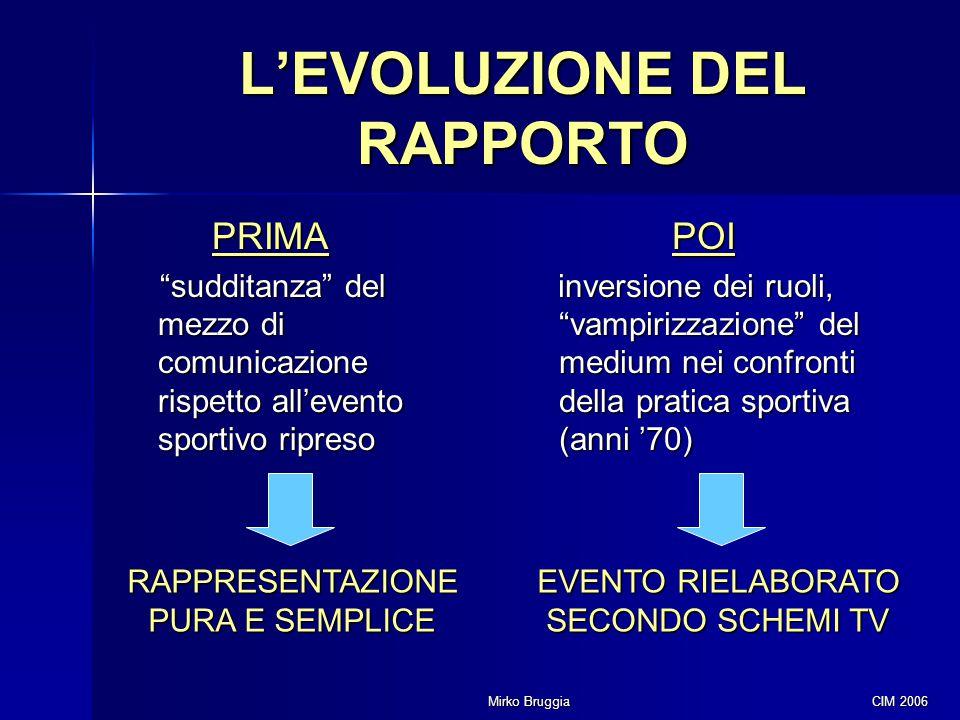 """Mirko Bruggia CIM 2006 L'EVOLUZIONE DEL RAPPORTO PRIMA """"sudditanza"""" del mezzo di comunicazione rispetto all'evento sportivo ripreso POI inversione dei"""