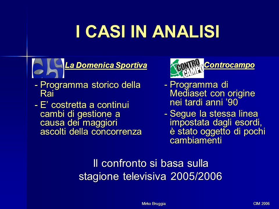 Mirko Bruggia CIM 2006 I CASI IN ANALISI La Domenica Sportiva - Programma storico della Rai - E' costretta a continui cambi di gestione a causa dei ma