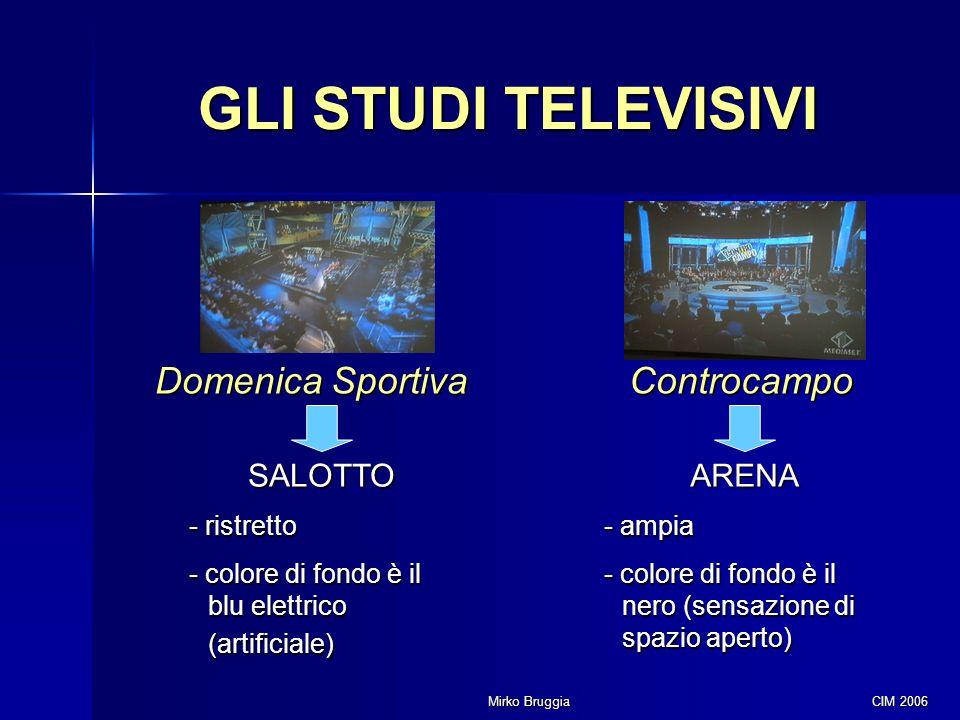 Mirko Bruggia CIM 2006 GLI STUDI TELEVISIVI Domenica Sportiva Controcampo SALOTTO - ristretto - colore di fondo è il blu elettrico (artificiale) ARENA