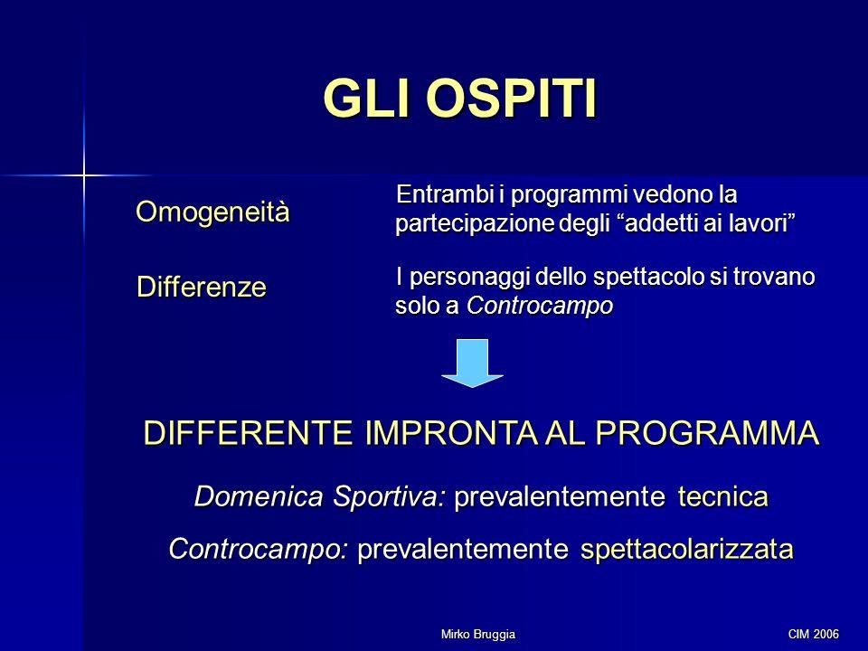"""Mirko Bruggia CIM 2006 GLI OSPITI Omogeneità Entrambi i programmi vedono la partecipazione degli """"addetti ai lavori"""" Differenze I personaggi dello spe"""