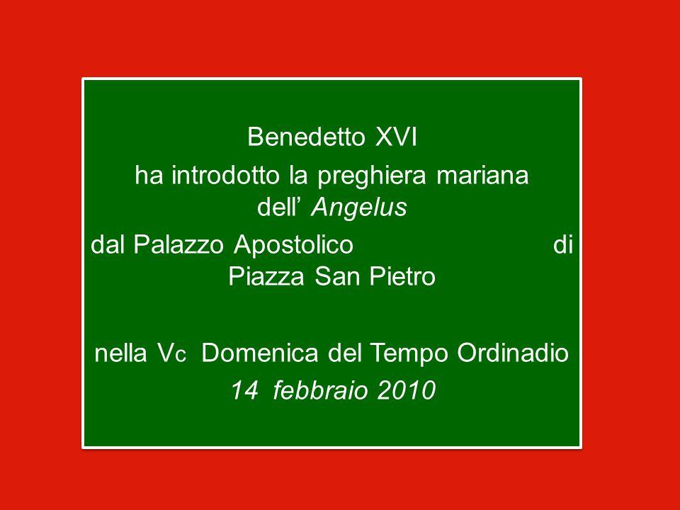 Benedetto XVI ha introdotto la preghiera mariana dell' Angelus dal Palazzo Apostolico di Piazza San Pietro nella V c Domenica del Tempo Ordinadio 14 febbraio 2010 Benedetto XVI ha introdotto la preghiera mariana dell' Angelus dal Palazzo Apostolico di Piazza San Pietro nella V c Domenica del Tempo Ordinadio 14 febbraio 2010