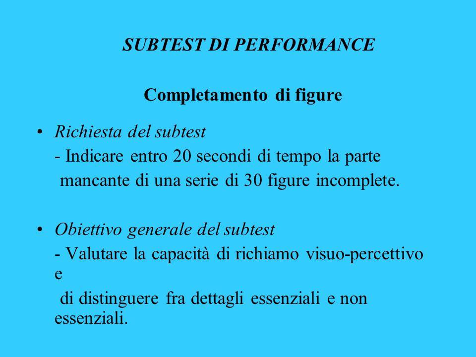 SUBTEST DI PERFORMANCE Completamento di figure Richiesta del subtest - Indicare entro 20 secondi di tempo la parte mancante di una serie di 30 figure incomplete.