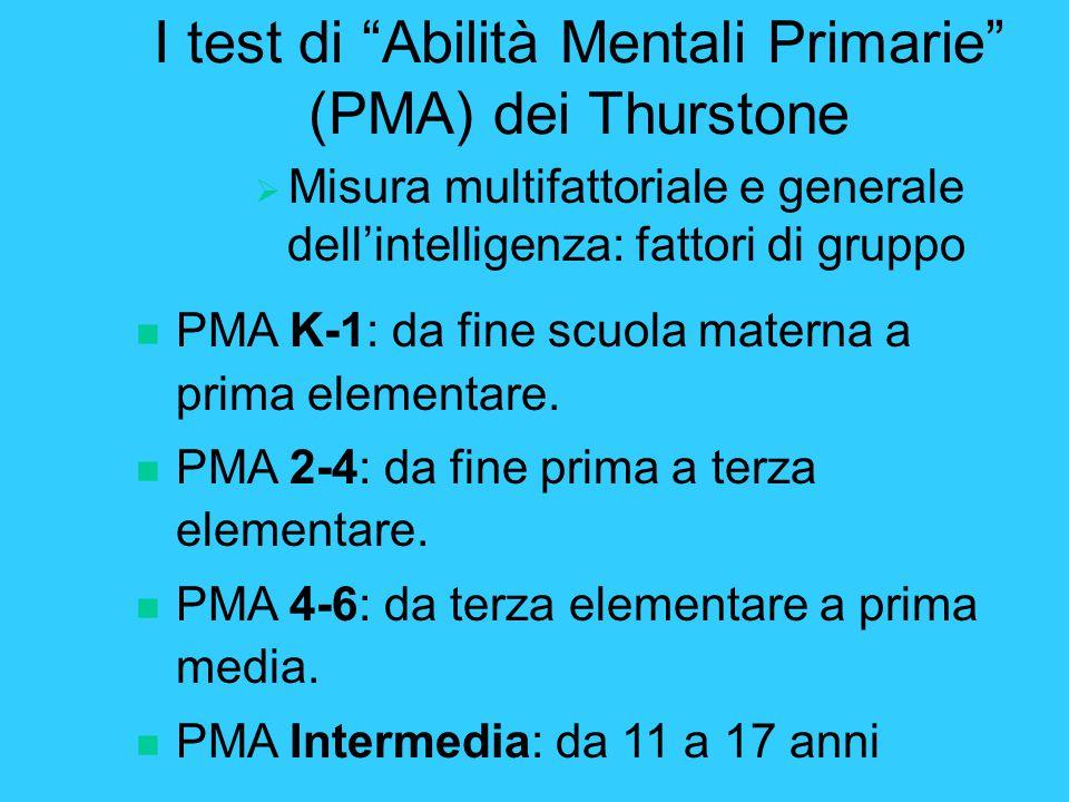 I test di Abilità Mentali Primarie (PMA) dei Thurstone  Misura multifattoriale e generale dell'intelligenza: fattori di gruppo n PMA K-1: da fine scuola materna a prima elementare.