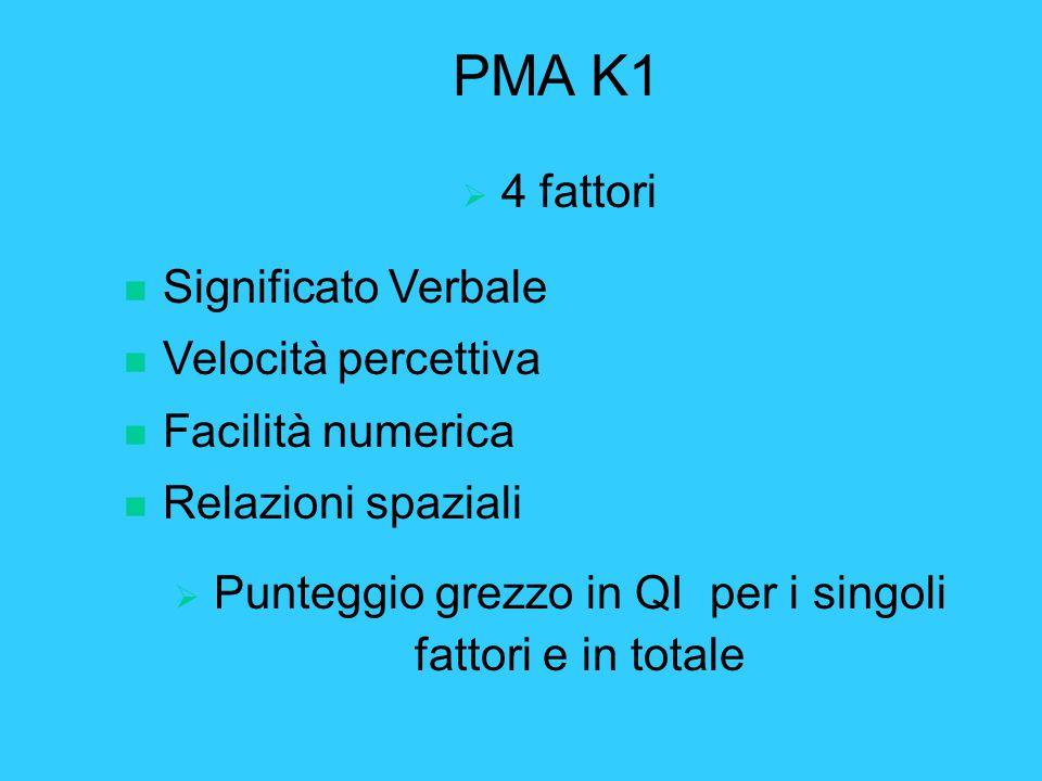 PMA K1  4 fattori n Significato Verbale n Velocità percettiva n Facilità numerica n Relazioni spaziali  Punteggio grezzo in QI per i singoli fattori e in totale