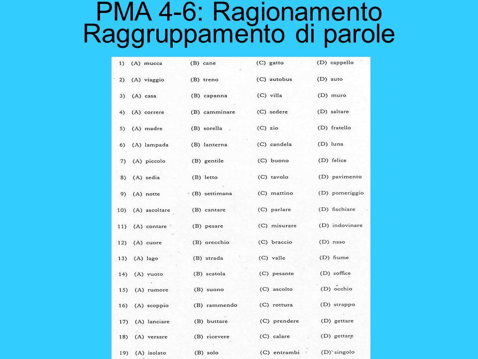 PMA 4-6: Ragionamento Raggruppamento di parole