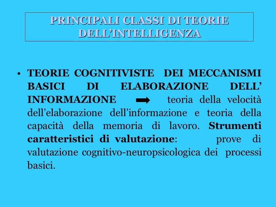 TEORIE COGNITIVISTE DEI MECCANISMI BASICI DI ELABORAZIONE DELL' INFORMAZIONE teoria della velocità dell'elaborazione dell'informazione e teoria della capacità della memoria di lavoro.