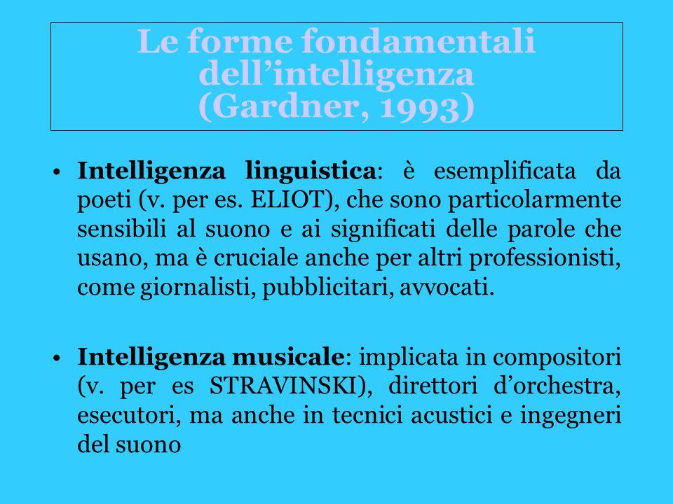 Le forme fondamentali dell'intelligenza (Gardner, 1993) Intelligenza linguistica: è esemplificata da poeti (v.
