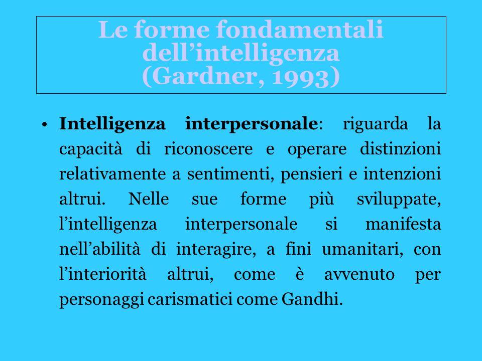 Intelligenza interpersonale: riguarda la capacità di riconoscere e operare distinzioni relativamente a sentimenti, pensieri e intenzioni altrui.