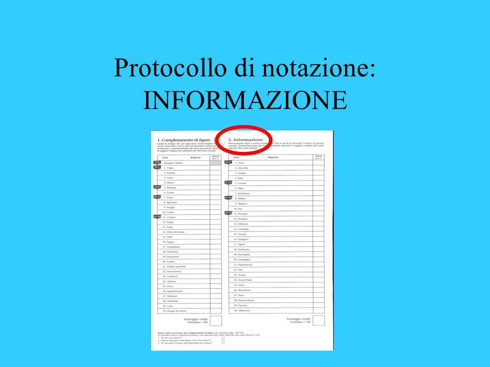 Protocollo di notazione: INFORMAZIONE
