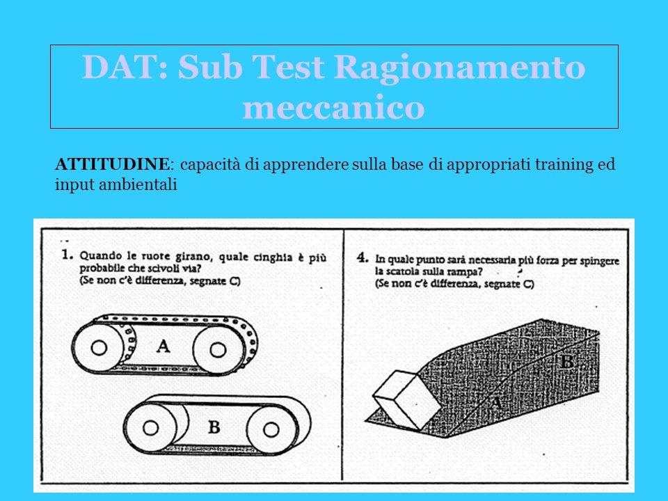 DAT: Sub Test Ragionamento meccanico ATTITUDINE: capacità di apprendere sulla base di appropriati training ed input ambientali